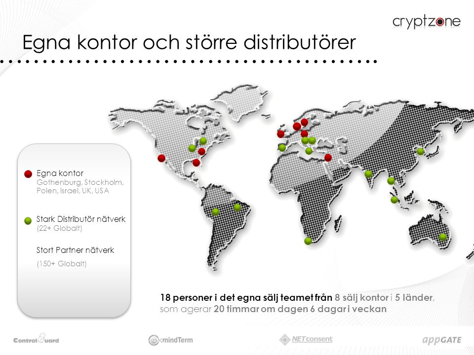 Egna kontor Gothenburg, Stockholm, Polen, Israel, UK, USA Stark Distributör nätverk (22+ Globalt) Stort Partner nätverk (150+ Globalt) ……………………………………..
