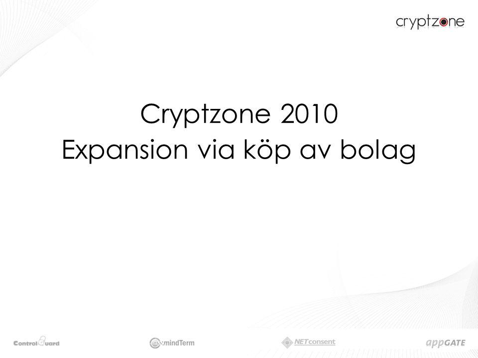 ……………………………………..Förvärvsstrategi Cryptzone har en strategi att växa via förvärv.