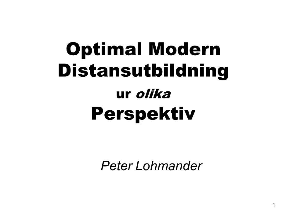 1 Optimal Modern Distansutbildning ur olika Perspektiv Peter Lohmander
