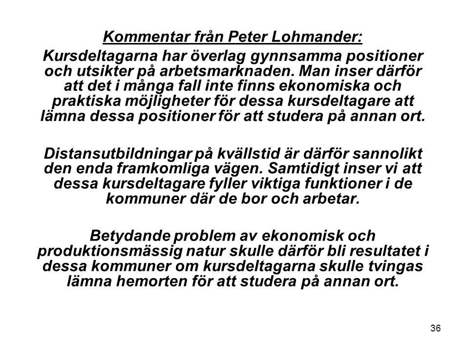 36 Kommentar från Peter Lohmander: Kursdeltagarna har överlag gynnsamma positioner och utsikter på arbetsmarknaden.
