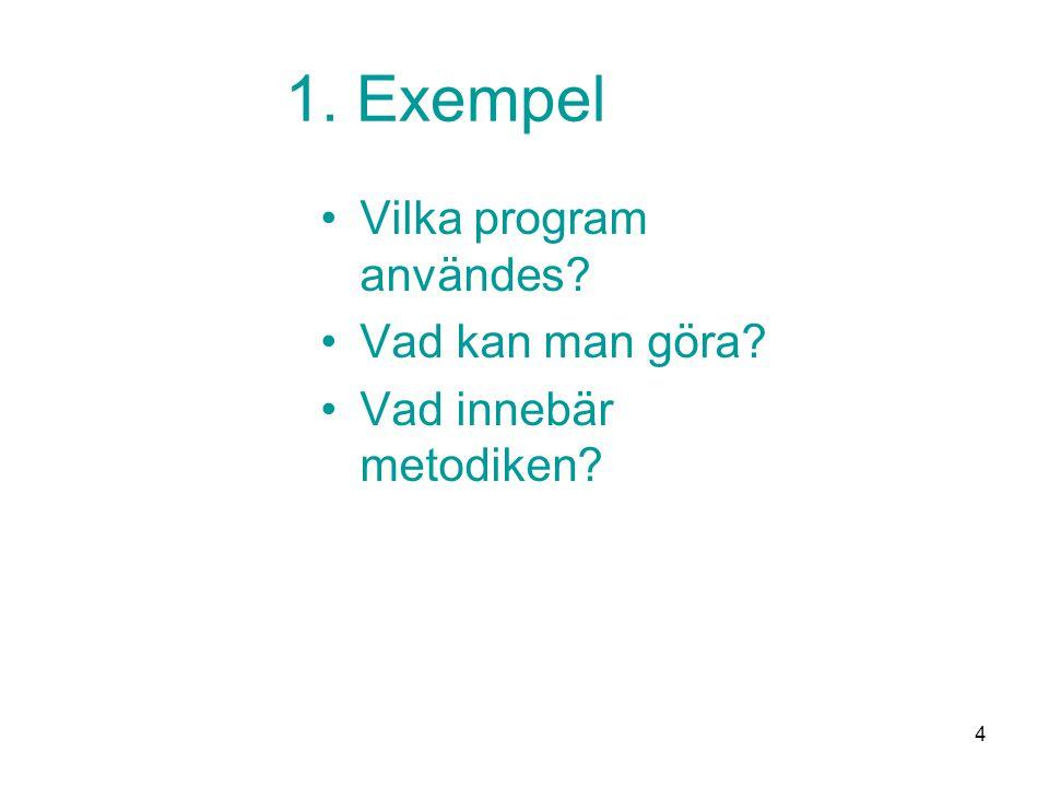 4 1. Exempel •Vilka program användes? •Vad kan man göra? •Vad innebär metodiken?