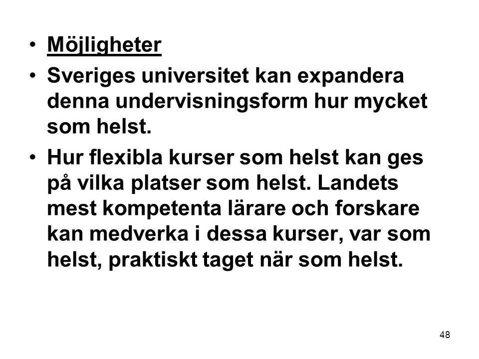 48 •Möjligheter •Sveriges universitet kan expandera denna undervisningsform hur mycket som helst.