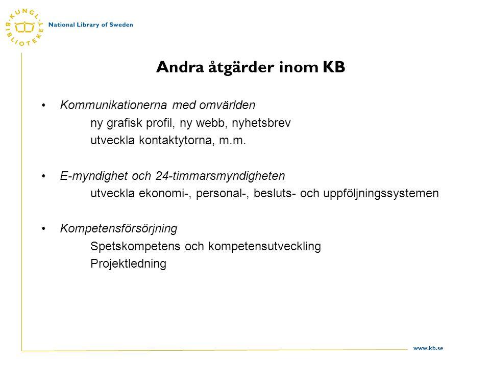 www.kb.se Andra åtgärder inom KB •Kommunikationerna med omvärlden ny grafisk profil, ny webb, nyhetsbrev utveckla kontaktytorna, m.m.