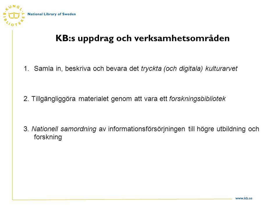 www.kb.se Färdriktning mot 2010 •Visionsarbete med mål, strategiska områden, verksamhetsplaner, styrande värderingar och uppföljning • 2010 är KB en ledande aktör inom svensk biblioteksutveckling, en drivande aktör på den europeiska biblioteksarenan och en betydelsefull aktör inom hela det internationella biblioteksarbetet.