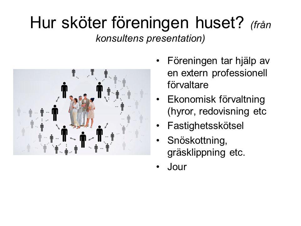 Hur sköter föreningen huset? (från konsultens presentation) •Föreningen tar hjälp av en extern professionell förvaltare •Ekonomisk förvaltning (hyror,