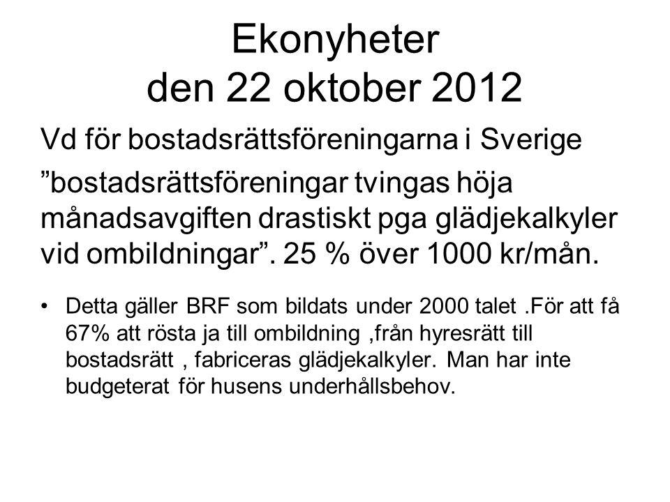Ekonyheter den 22 oktober 2012 Vd för bostadsrättsföreningarna i Sverige bostadsrättsföreningar tvingas höja månadsavgiften drastiskt pga glädjekalkyler vid ombildningar .