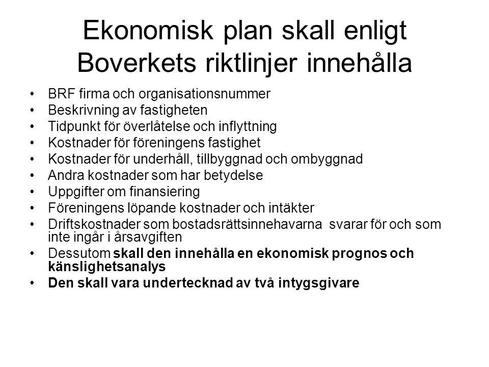 Ekonomisk plan skall enligt Boverkets riktlinjer innehålla •BRF firma och organisationsnummer •Beskrivning av fastigheten •Tidpunkt för överlåtelse oc