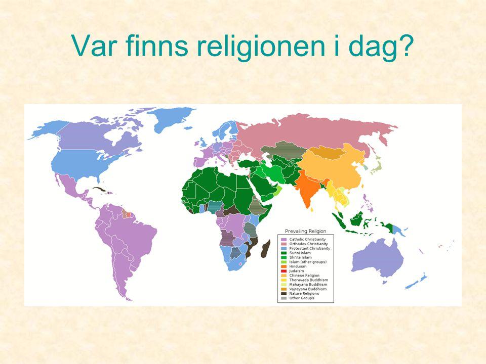 Var finns religionen i dag? •Utspridda över hela världen sammanlagt ca16 miljoner. •6 miljoner bor i USA. •5 miljoner i Israel. •3 miljoner i Ryssland