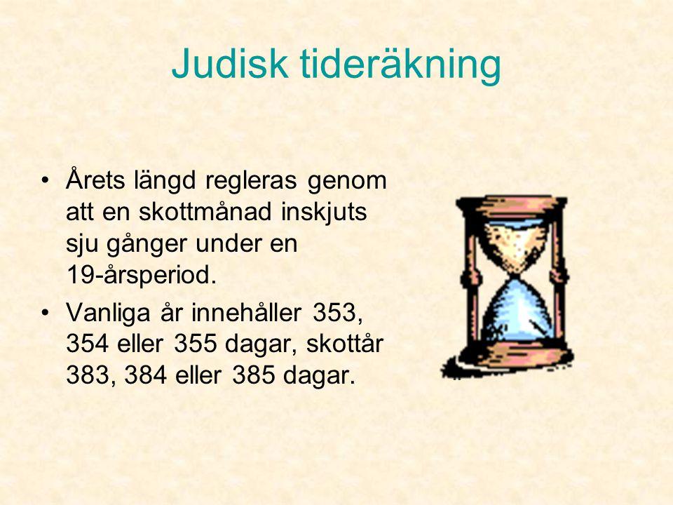 Judisk tideräkning •Den judiska tidräkningen bygger på solåret och måncykeln. Året är indelat i tolv månader som är antingen 29 eller 30 dagar långa.