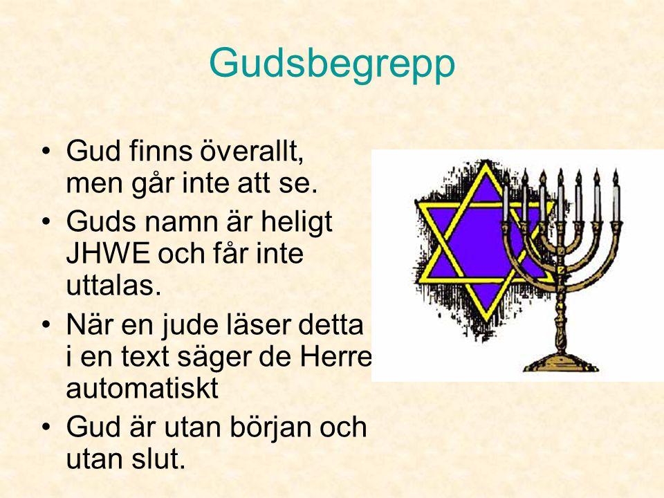 Gudsbegrepp •Judendomen är den första monoteistiska religionen (tron på en enda Gud). •Gud är allsmäktig och hela universums skapare •Människan är Gud