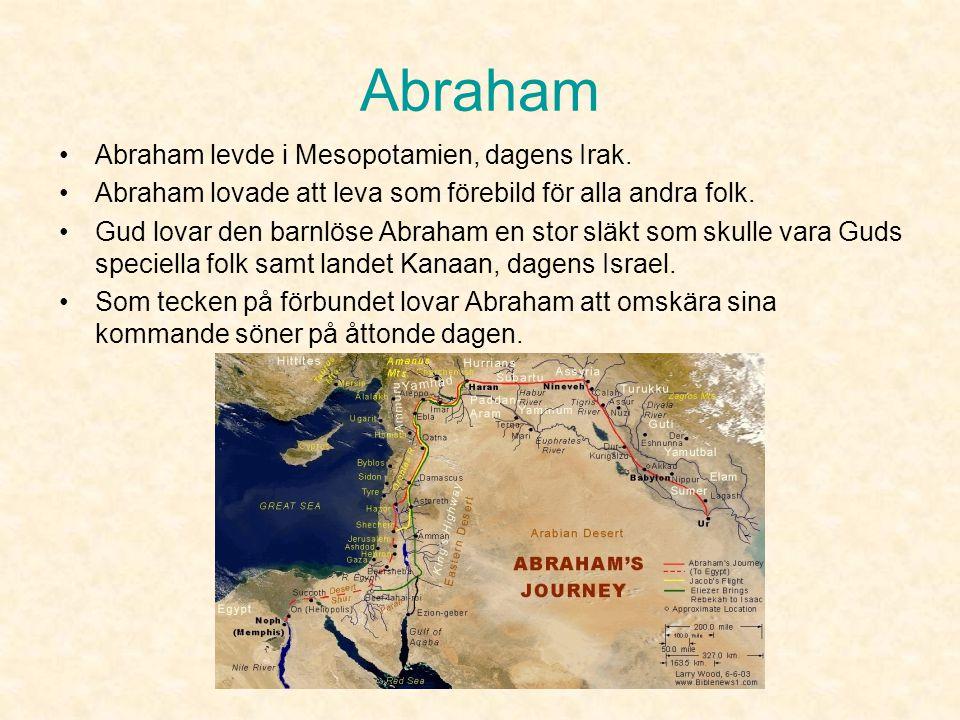 Abraham •Abraham såg i livet som en helhet där alla och allt hängde ihop och då behövde man bara en Gud. •Abraham slöt ett förbund (pakt) med Gud ca 2