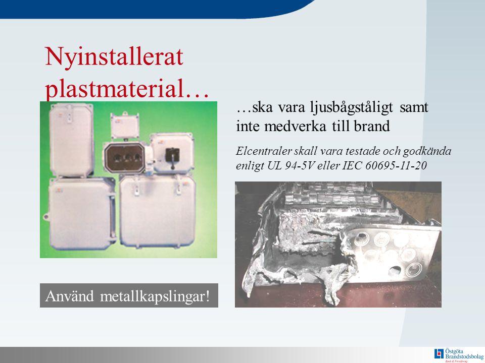 N Bakom här finns en mall! Nyinstallerat plastmaterial… …ska vara ljusbågståligt samt inte medverka till brand Elcentraler skall vara testade och godk