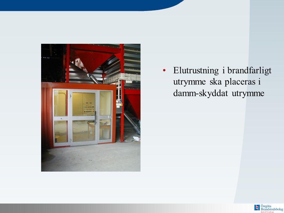 N Bakom här finns en mall! •Elutrustning i brandfarligt utrymme ska placeras i damm-skyddat utrymme
