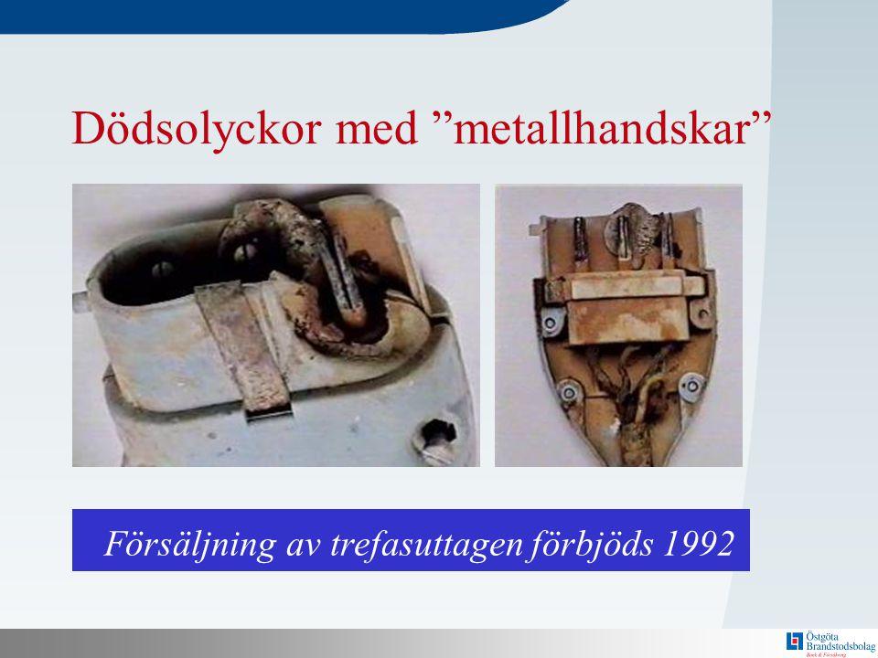 """N Bakom här finns en mall! Dödsolyckor med """"metallhandskar"""" Försäljning av trefasuttagen förbjöds 1992"""