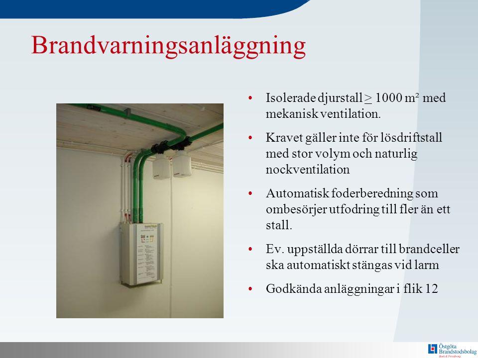 N Brandvarningsanläggning •Isolerade djurstall > 1000 m² med mekanisk ventilation. •Kravet gäller inte för lösdriftstall med stor volym och naturlig n