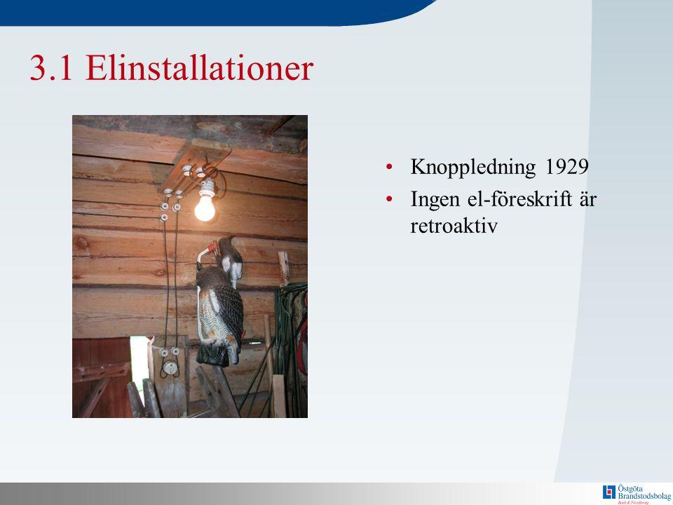 N 3.1 Elinstallationer •Knoppledning 1929 •Ingen el-föreskrift är retroaktiv