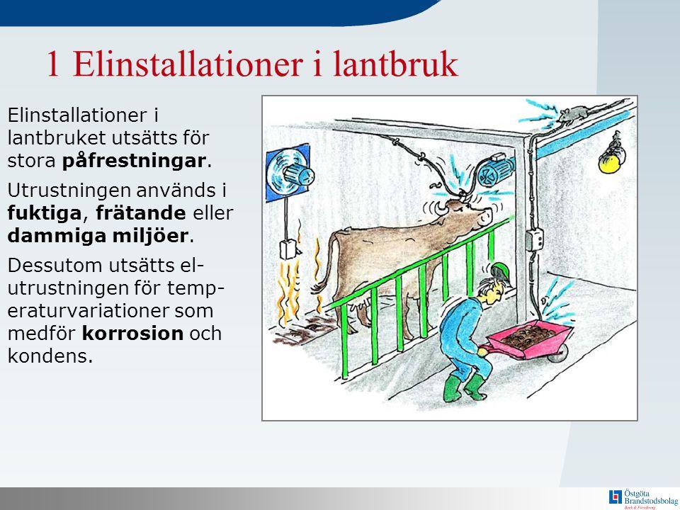 N 1 Elinstallationer i lantbruk Elinstallationer i lantbruket utsätts för stora påfrestningar. Utrustningen används i fuktiga, frätande eller dammiga