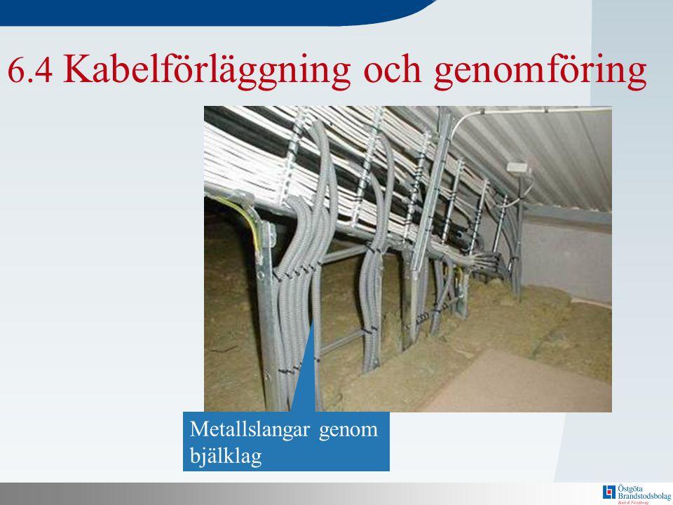 N Bakom här finns en mall! 6.4 Kabelförläggning och genomföring Metallslangar genom bjälklag