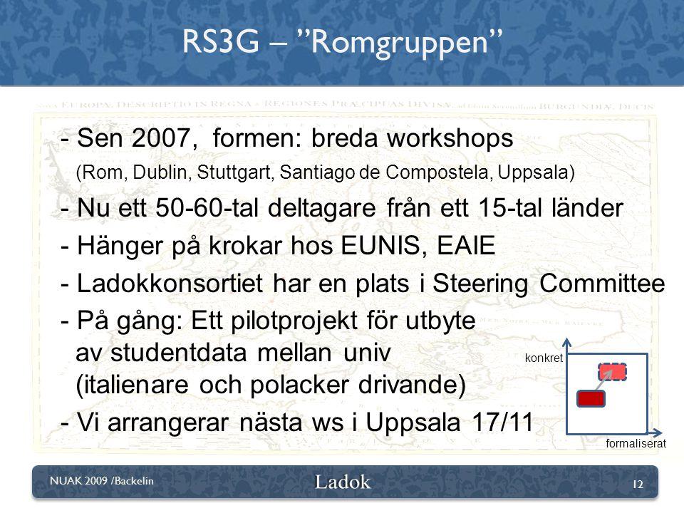 """12 NUAK 2009 /Backelin RS3G – """"Romgruppen"""" konkret formaliserat - Sen 2007, formen: breda workshops (Rom, Dublin, Stuttgart, Santiago de Compostela, U"""