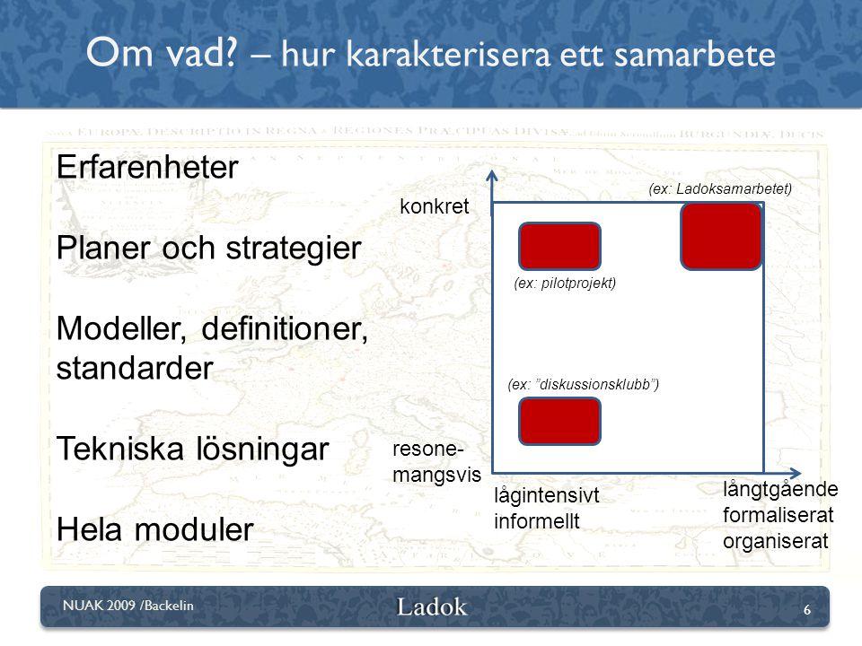 6 NUAK 2009 /Backelin konkret resone- mangsvis lågintensivt informellt långtgående formaliserat organiserat Erfarenheter Planer och strategier Modelle
