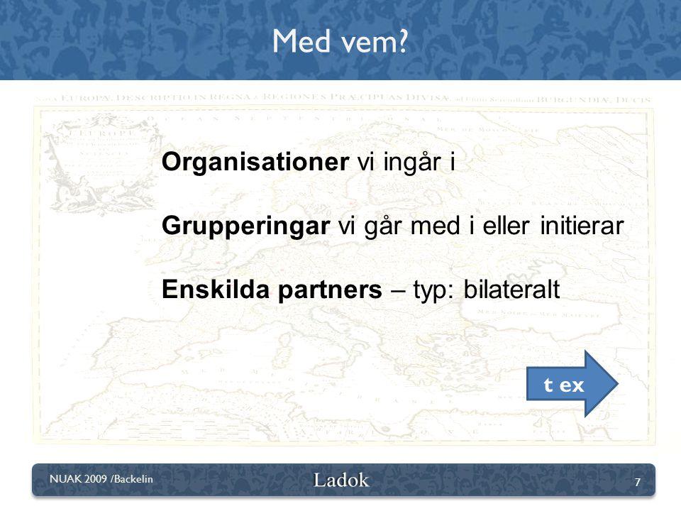 7 NUAK 2009 /Backelin Organisationer vi ingår i Grupperingar vi går med i eller initierar Enskilda partners – typ: bilateralt Med vem? t ex