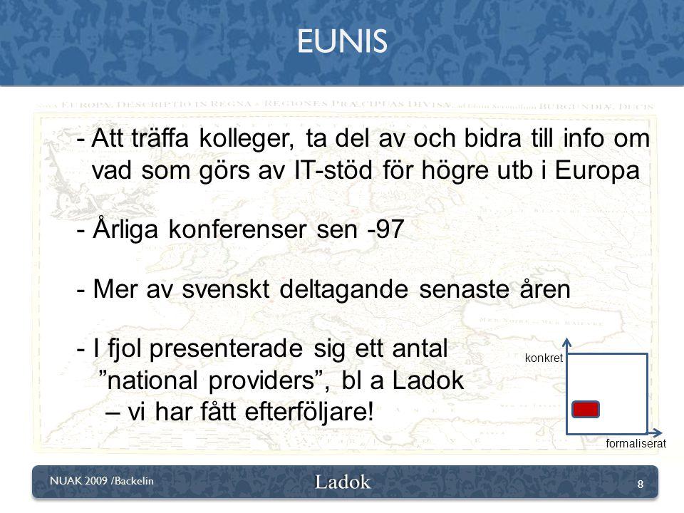 8 NUAK 2009 /Backelin - Att träffa kolleger, ta del av och bidra till info om vad som görs av IT-stöd för högre utb i Europa - Årliga konferenser sen