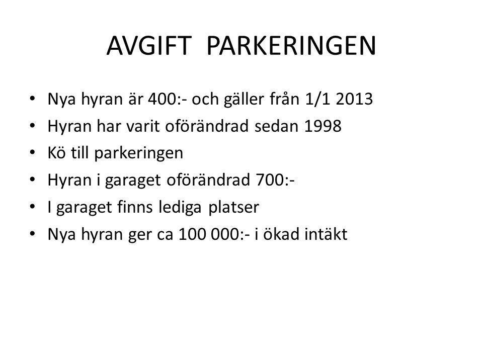 AVGIFT PARKERINGEN • Nya hyran är 400:- och gäller från 1/1 2013 • Hyran har varit oförändrad sedan 1998 • Kö till parkeringen • Hyran i garaget oförä