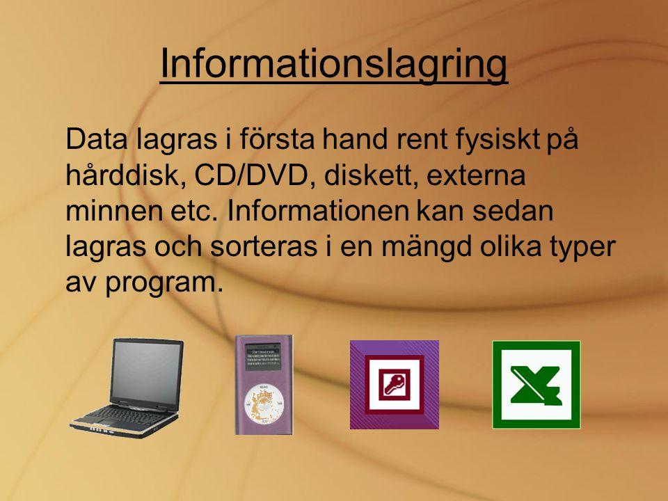Informationslagring Data lagras i första hand rent fysiskt på hårddisk, CD/DVD, diskett, externa minnen etc. Informationen kan sedan lagras och sorter