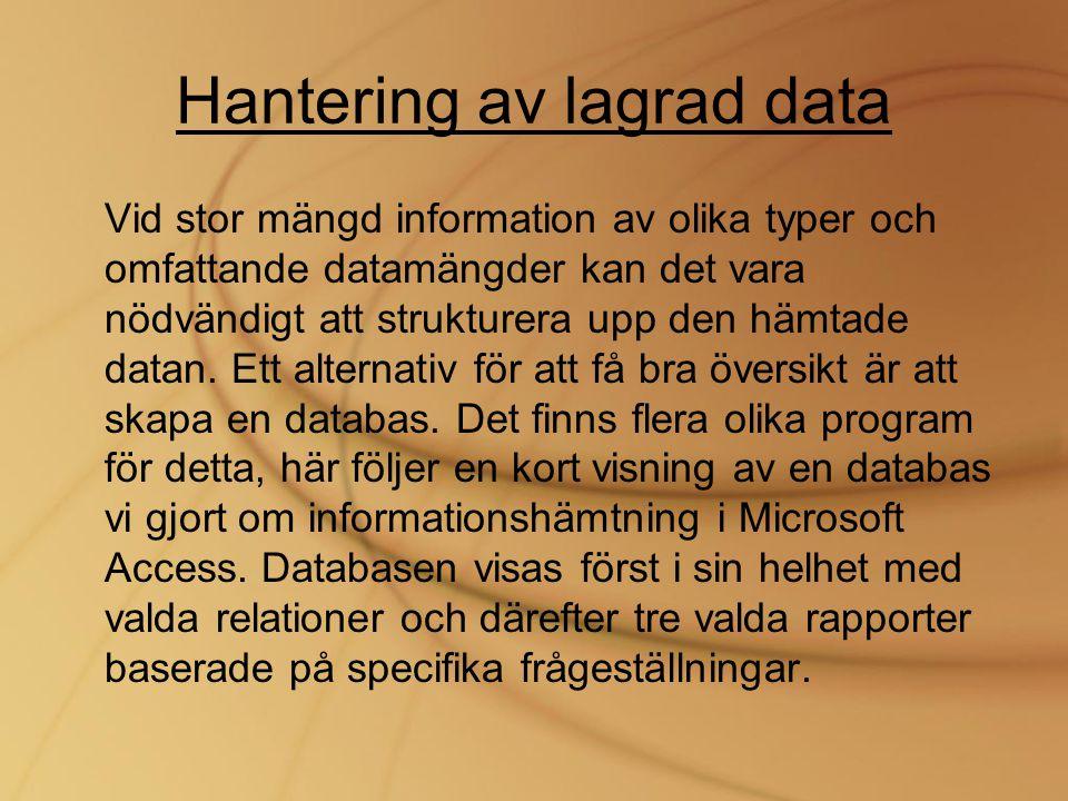Hantering av lagrad data Vid stor mängd information av olika typer och omfattande datamängder kan det vara nödvändigt att strukturera upp den hämtade