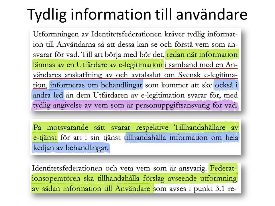 Tydlig information till användare