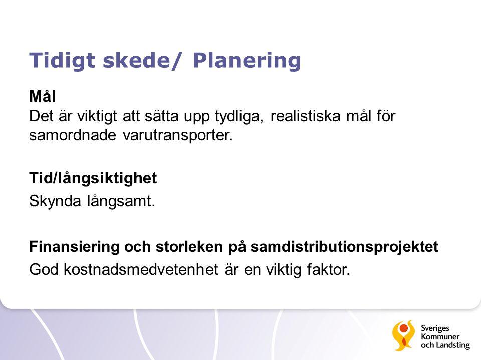 Tidigt skede/ Planering Offentlig eller privat regi Ger olika förutsättningar för projektet.