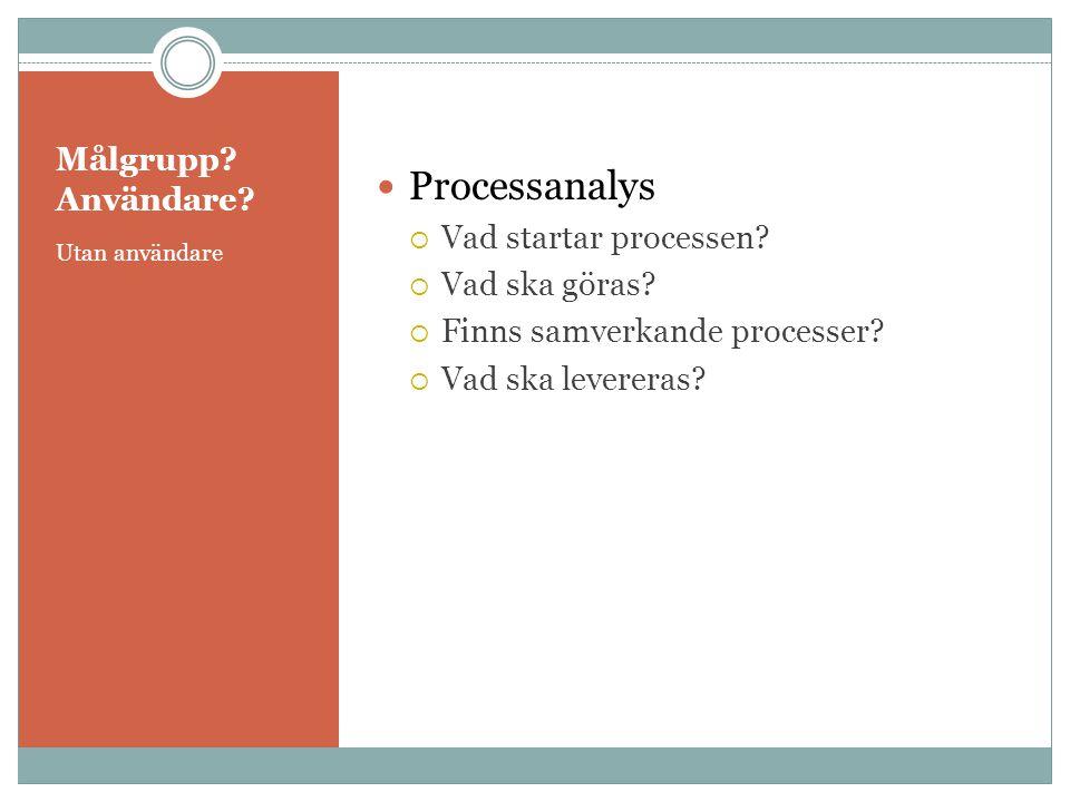 Målgrupp? Användare? Utan användare  Processanalys  Vad startar processen?  Vad ska göras?  Finns samverkande processer?  Vad ska levereras?