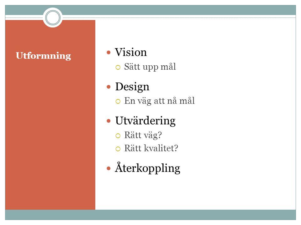 Utformning  Vision  Sätt upp mål  Design  En väg att nå mål  Utvärdering  Rätt väg?  Rätt kvalitet?  Återkoppling
