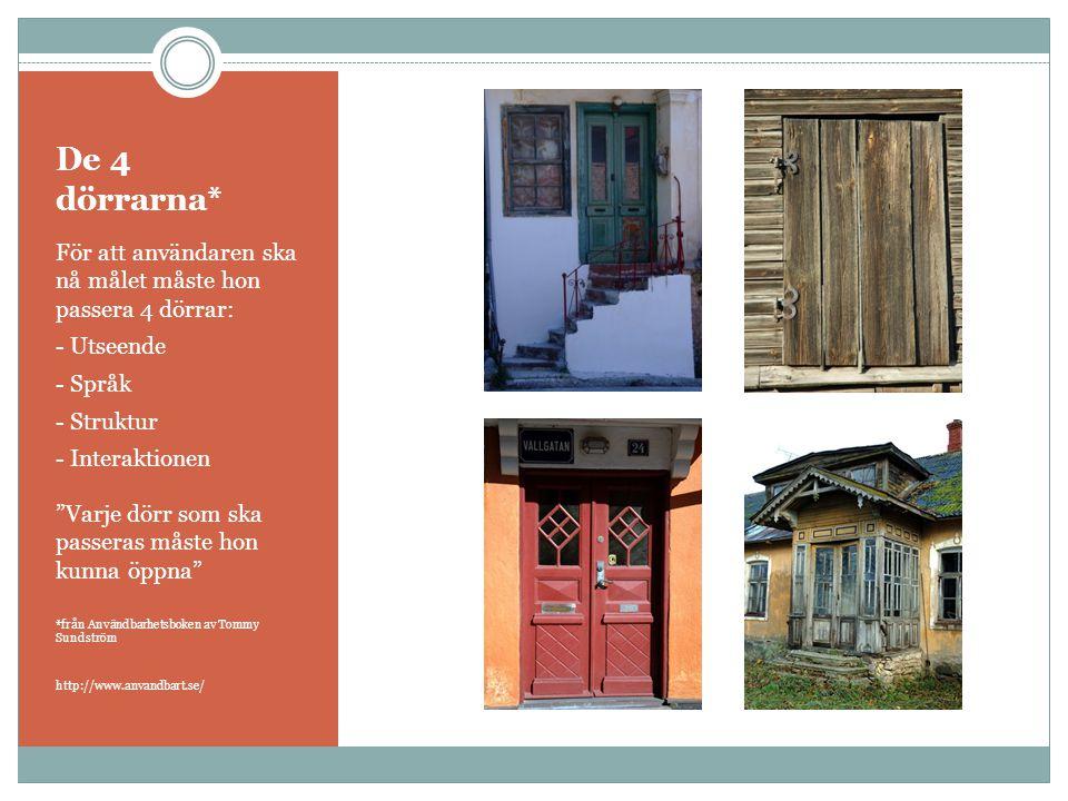 """De 4 dörrarna* För att användaren ska nå målet måste hon passera 4 dörrar: - Utseende - Språk - Struktur - Interaktionen """"Varje dörr som ska passeras"""