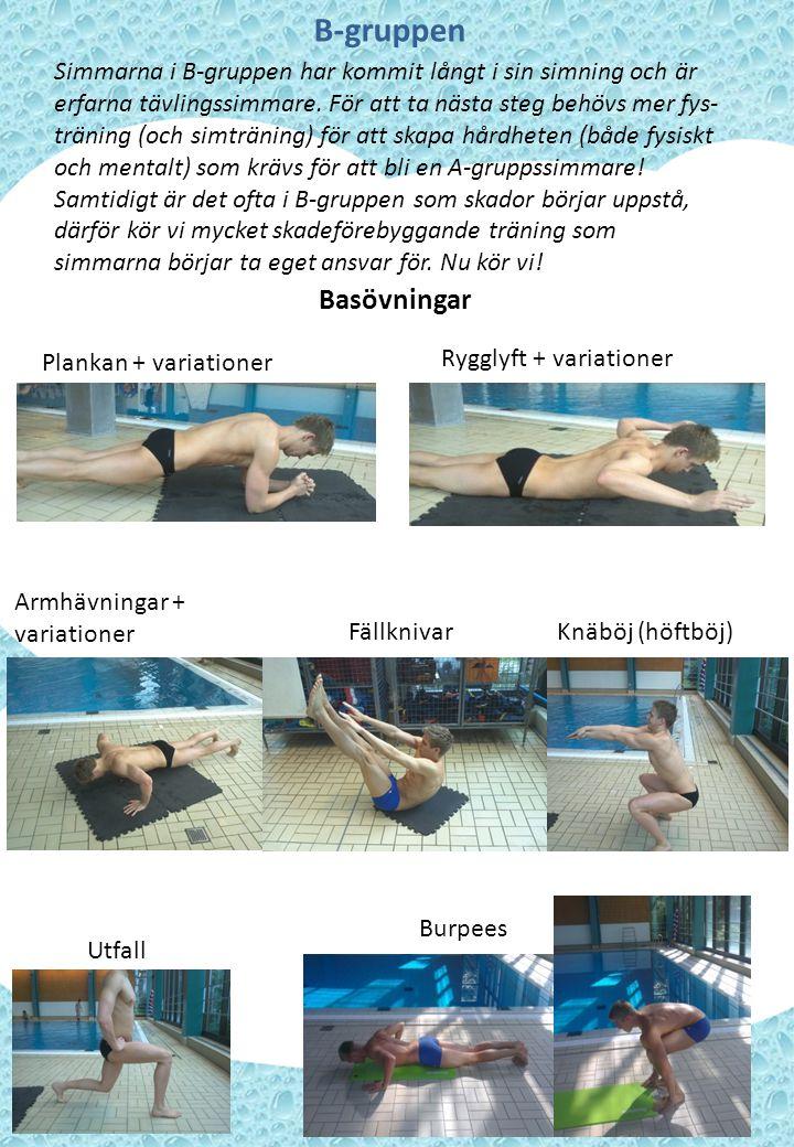 B-gruppens axplock Nedan följer övningar som är speciellt lämpade för B-gruppen.