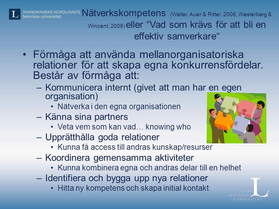 """Nätverkskompetens (Walter, Auer & Ritter, 2006, Westerberg & Wincent, 2008) eller """"Vad som krävs för att bli en effektiv samverkare"""" •Förmåga att anvä"""