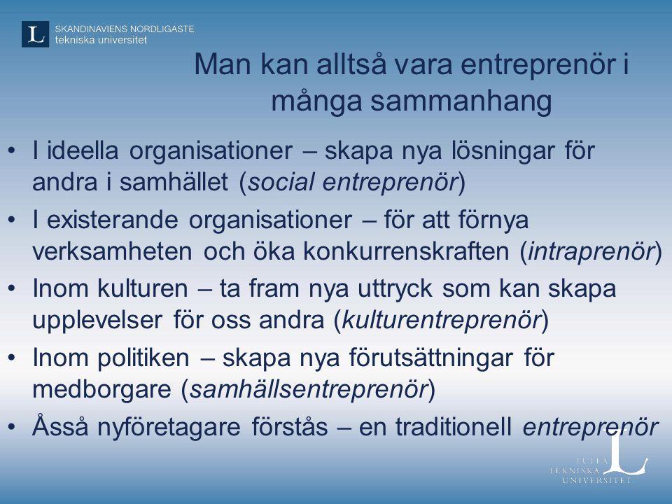 Man kan alltså vara entreprenör i många sammanhang •I ideella organisationer – skapa nya lösningar för andra i samhället (social entreprenör) •I exist