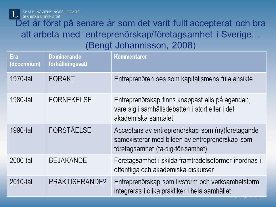 Det är först på senare år som det varit fullt accepterat och bra att arbeta med entreprenörskap/företagsamhet i Sverige… (Bengt Johannisson, 2008) 23
