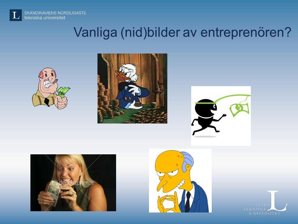 Kort historisk odyssé för vurmen kring det entreprenöriella med tonvikt på utbildningssystemet •OECD – 1989: Behovet av initiativ och kreativitet hos alla lyfts fram som centralt för framtiden •EU – 2006: Initiativförmåga och företagaranda lyfts som en av de åtta nyckelkompetenserna •Sverige, regeringen – 2009: Entreprenörskap skall löpa som en röd tråd genom utbildningssystemet •Sverige, skolverket – 2011: Entreprenörskap finns inskrivet i alla läroplaner från förskola till vuxenutbildning