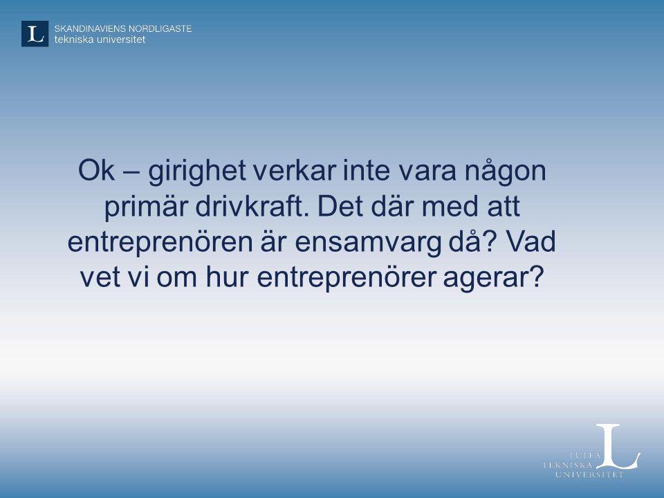 Ok – girighet verkar inte vara någon primär drivkraft. Det där med att entreprenören är ensamvarg då? Vad vet vi om hur entreprenörer agerar?