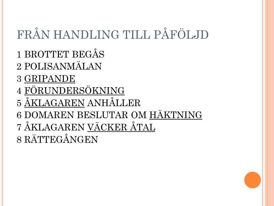FRÅN HANDLING TILL PÅFÖLJD 1 BROTTET BEGÅS 2 POLISANMÄLAN 3 GRIPANDE 4 FÖRUNDERSÖKNING 5 ÅKLAGAREN ANHÅLLER 6 DOMAREN BESLUTAR OM HÄKTNING 7 ÅKLAGAREN VÄCKER ÅTAL 8 RÄTTEGÅNGEN