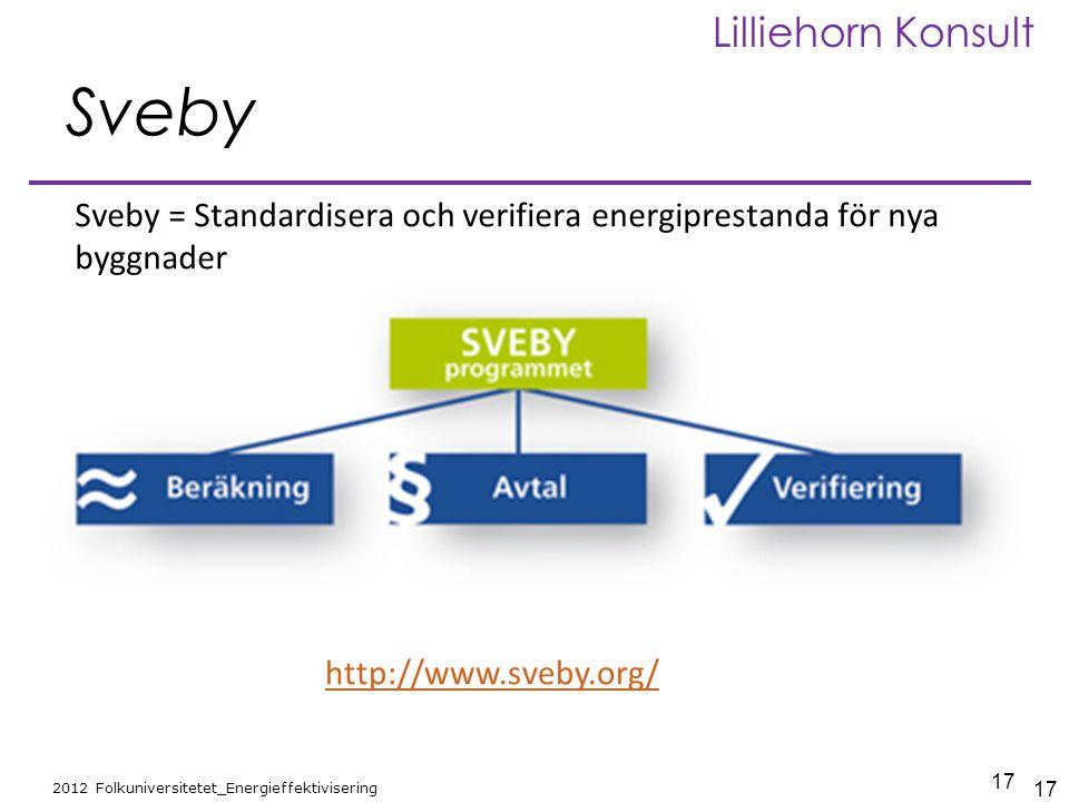 17 2012 Folkuniversitetet_Energieffektivisering Lilliehorn Konsult Sveby Sveby = Standardisera och verifiera energiprestanda för nya byggnader 17 http