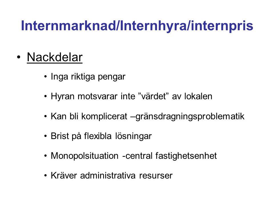 """Internmarknad/Internhyra/internpris •Nackdelar •Inga riktiga pengar •Hyran motsvarar inte """"värdet"""" av lokalen •Kan bli komplicerat –gränsdragningsprob"""