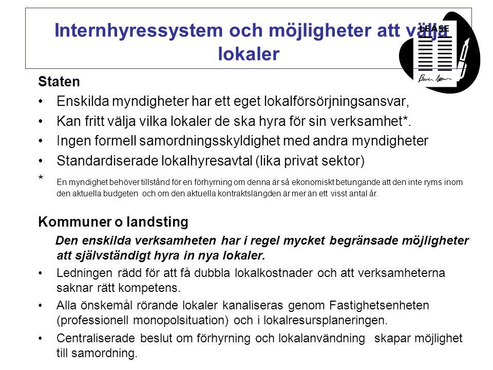 Internhyressystem och möjligheter att välja lokaler Staten •Enskilda myndigheter har ett eget lokalförsörjningsansvar, •Kan fritt välja vilka lokaler