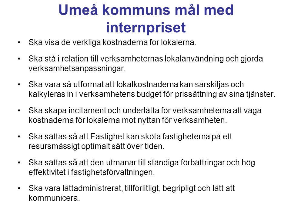 Umeå kommuns mål med internpriset •Ska visa de verkliga kostnaderna för lokalerna. •Ska stå i relation till verksamheternas lokalanvändning och gjorda