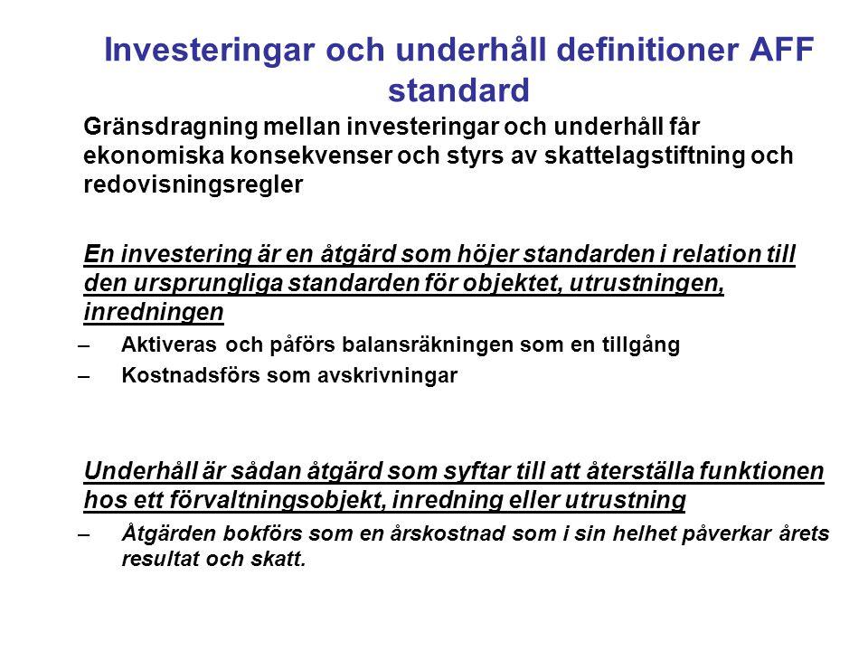 Investeringar och underhåll definitioner AFF standard Gränsdragning mellan investeringar och underhåll får ekonomiska konsekvenser och styrs av skattelagstiftning och redovisningsregler En investering är en åtgärd som höjer standarden i relation till den ursprungliga standarden för objektet, utrustningen, inredningen –Aktiveras och påförs balansräkningen som en tillgång –Kostnadsförs som avskrivningar Underhåll är sådan åtgärd som syftar till att återställa funktionen hos ett förvaltningsobjekt, inredning eller utrustning –Åtgärden bokförs som en årskostnad som i sin helhet påverkar årets resultat och skatt.