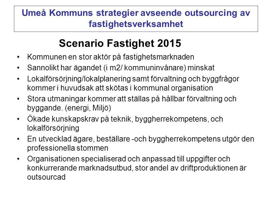 Scenario Fastighet 2015 •Kommunen en stor aktör på fastighetsmarknaden •Sannolikt har ägandet (i m2/ kommuninvånare) minskat •Lokalförsörjning/lokalpl