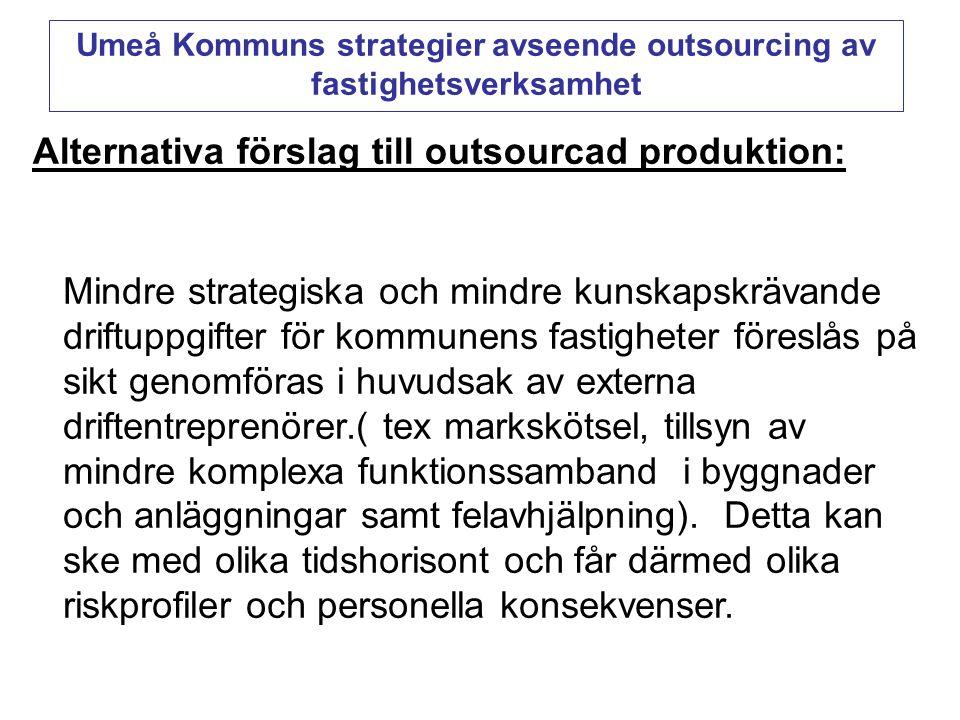 Alternativa förslag till outsourcad produktion: Mindre strategiska och mindre kunskapskrävande driftuppgifter för kommunens fastigheter föreslås på si