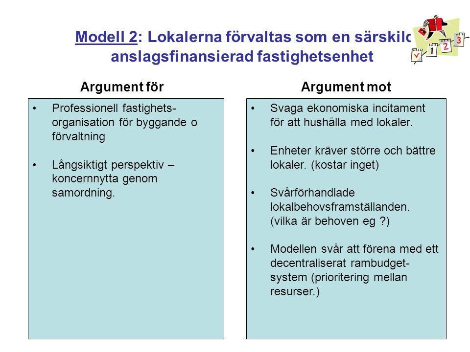 Modell 3: Den interna marknad för lokaler (vanligast förekommande) •Risk för ojämbördiga förhållanden i förhandlingar om lokalförsörjnings- och hyresfrågor •Viss risk för att dubbla kompetenser byggs upp •Risk för att lokalsamordningsmissar uppstår mellan verksamheter •Incitamentsparadoxer - spar mer så får ni mindre pengar •Det skapas en professionell fastighetsorganisation med koncernperspektiv •Verksamhetsanslaget som ska täcka avtalsenliga lokalkostnader, detta ger ekonomiska incitament att hushålla med lokaler.