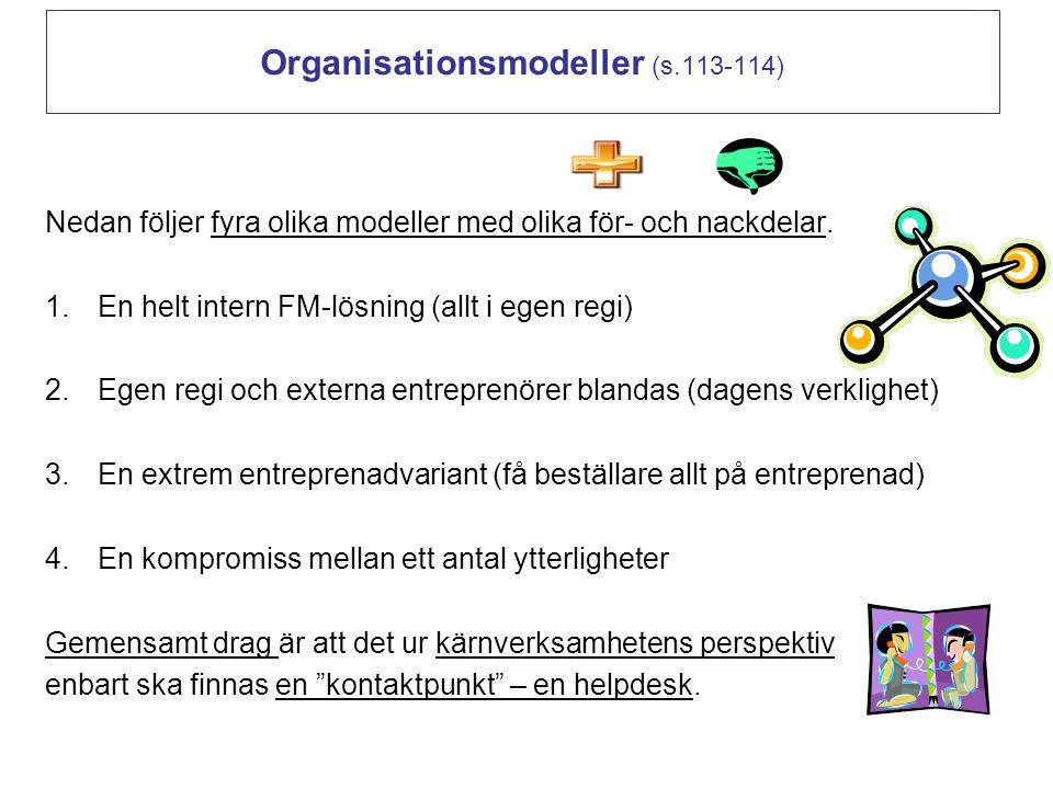 Organisationsmodeller (s.113-114) Nedan följer fyra olika modeller med olika för- och nackdelar. 1.En helt intern FM-lösning (allt i egen regi) 2.Egen